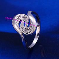 Кольцо с цирконами покрытие серебром 925 размер 16