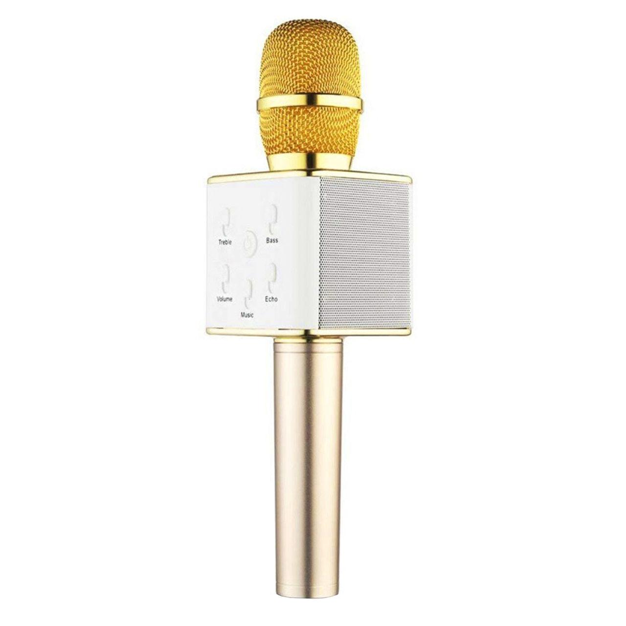 Беспроводной портативный микрофон Micgeek Q7 для караоке Bluetooth c чехлом Gold (3271-9596а)