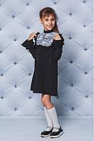 """Нарядное школьное платье черное с белым кружевом """"Katherine"""" - Рост: 122, 128, 134, 140, 146, 152"""