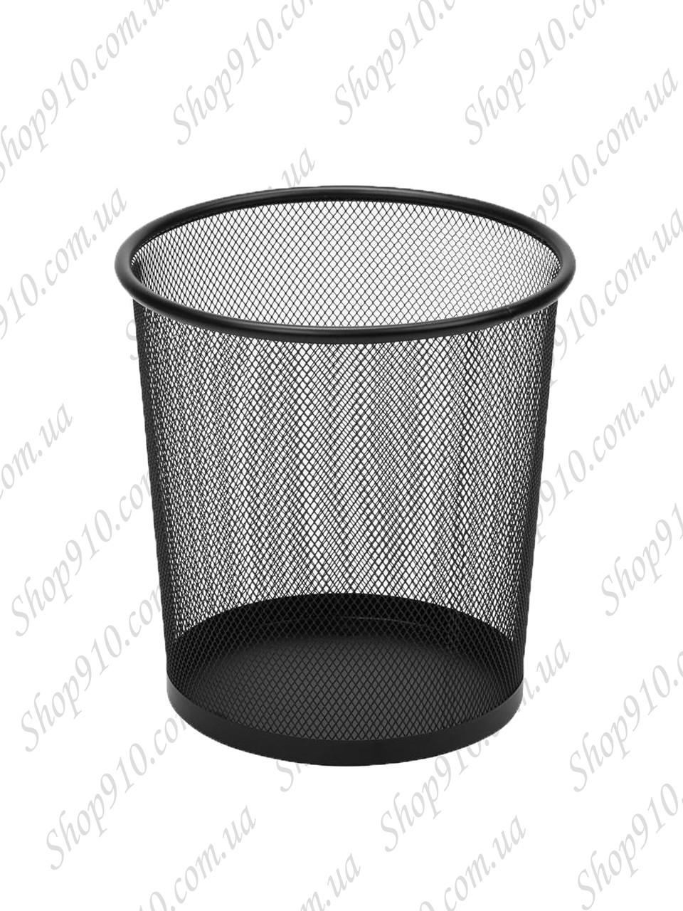 Офисная корзина для бумаги и мусора (средняя, чёрная)