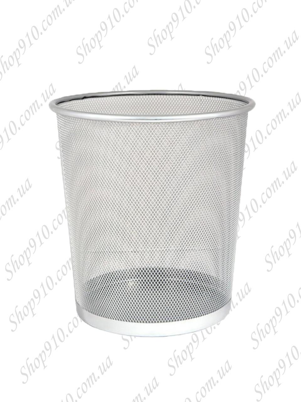 Офисная корзина для бумаги и мусора (большая, металлик)