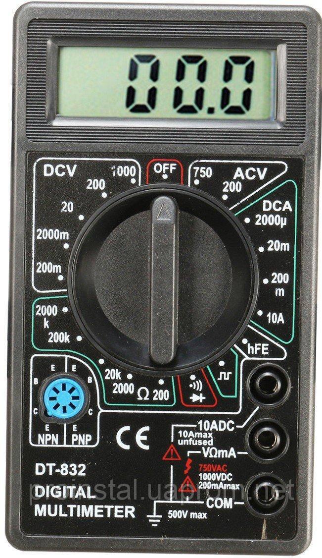 Мультиметр DT-832 Измерение: V, A, R (130*105*30) 0,15 кг (120*68*23)