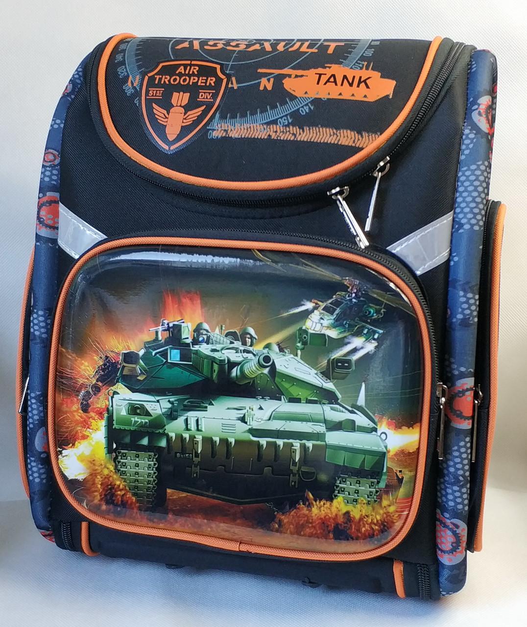 Школьный каркасный рюкзак для мальчиков Танки черный