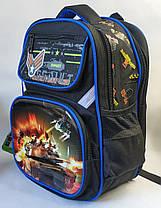 Школьный рюкзак для мальчиков с ортопедической спинкой танки черный, фото 2