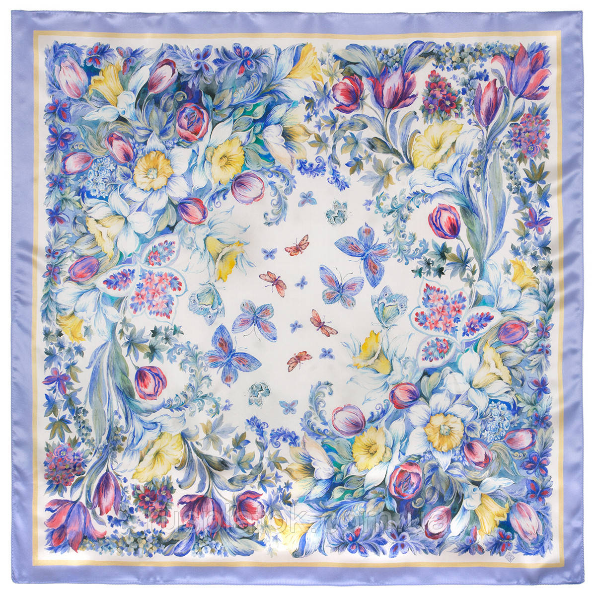 Предчувствие любви 10019-15, павлопосадский платок (атлас) шелковый с подрубкой