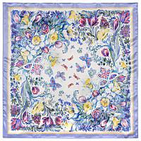 Предчувствие любви 10019-15, павлопосадский платок (атлас) шелковый с подрубкой, фото 1
