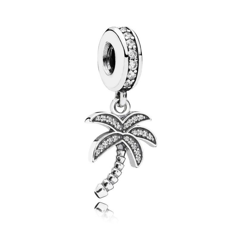 Подвеска-шарм «Сверкающая пальма» из серебра 925 пробы в стиле Pandora