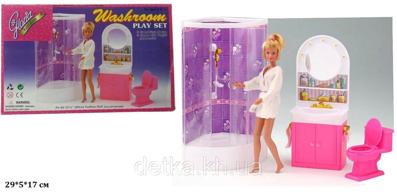Мебель для кукол ванная комната с душевой кабинкой Gloria 98020