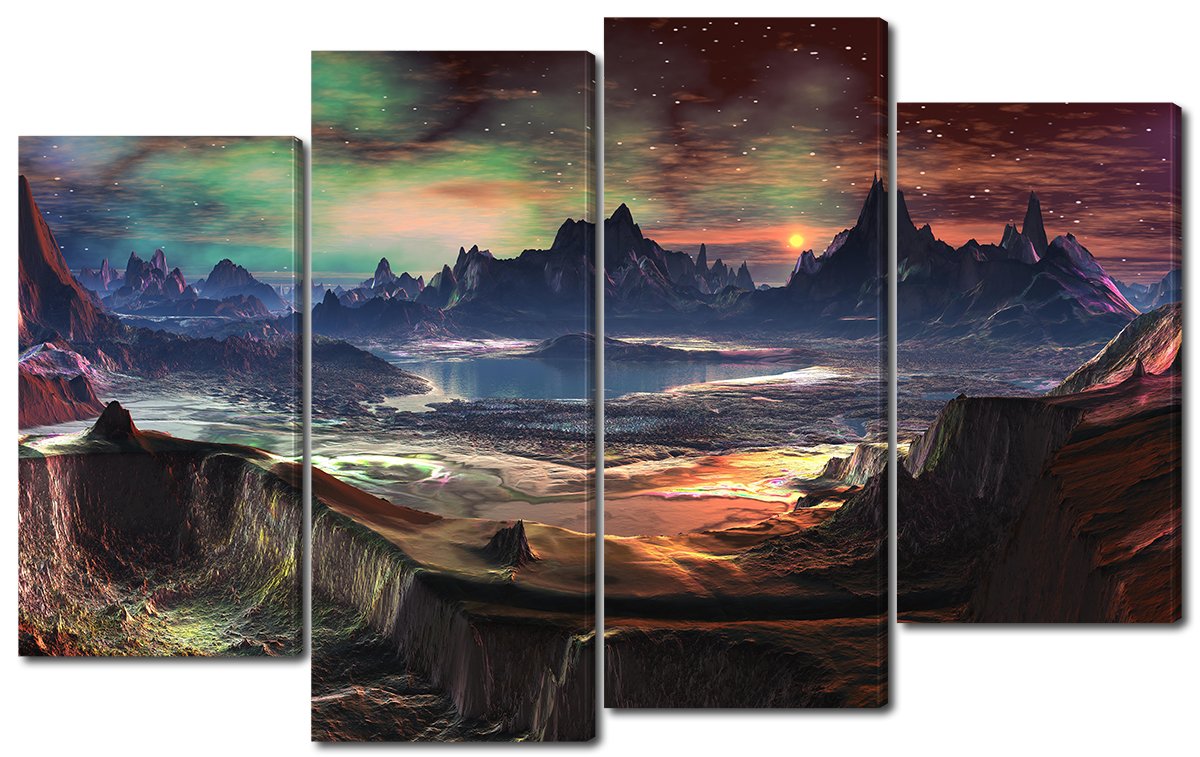 Модульная картина Interno Холст Фантастическая планета 114x69см (R1522M)