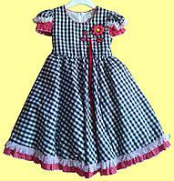 Нарядное детское платье, в черно-белую клеточку р. 2, 3