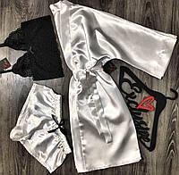 Белый набор одежды для дома и сна халат + пижама( кружевной топ и шорты).