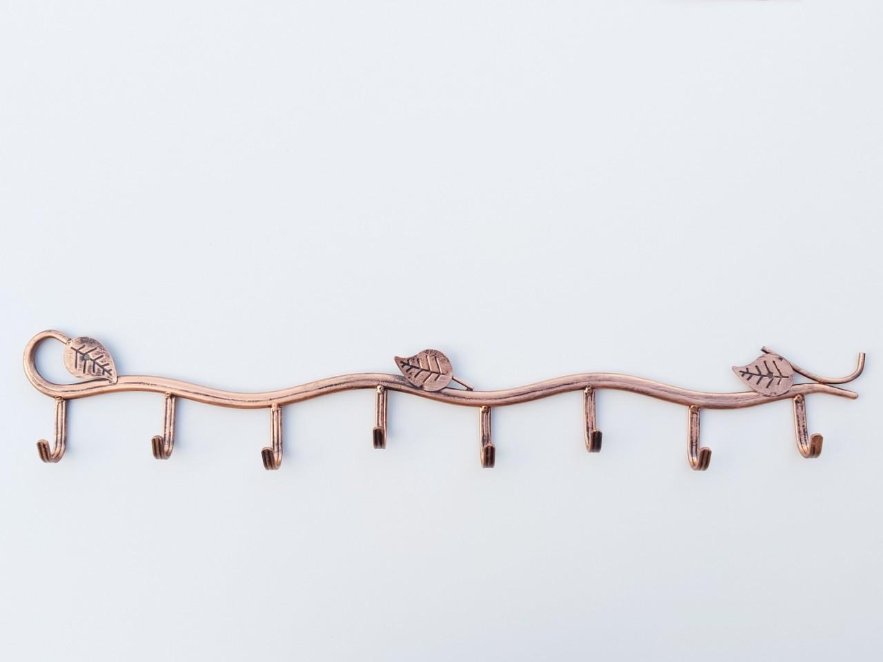Вешалка настенная металлическая бронзового цвета в виде лозы на 8 крючков, длина 63,5 см