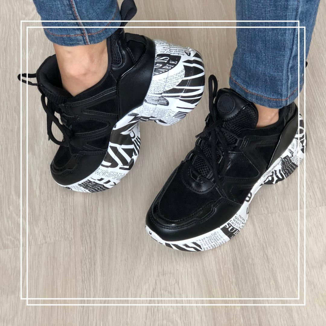 Кроссовки черные на высокой подошве