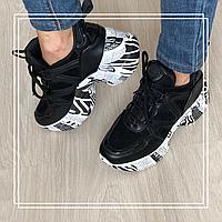 Кроссовки черные на высокой подошве, фото 1
