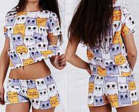 Женская пижама шортики и футболка,разных расцветках и принтах(кактусы, морожено, Фламинго)размер S- m,l - xl.