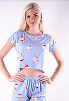 Пижама женская футболка и шортики, модная, молодёжная,пантерки на синем фоне, размер S, m, l, xl..