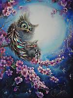 """Картина """"Совы на сакуре"""" , фото 1"""