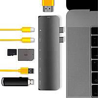 USB-хаб Qitech Aluminum Type-C + Type-A + HDMI 4K + MicroSD + SD Space Gray (QT-Hub1)