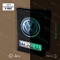 Под документы авто портмоне с номером и лого Вашего авто светящееся в темноте (Неон Эффект), фото 1