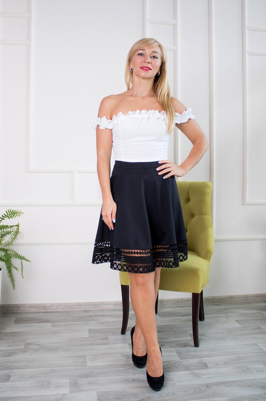 Нарядная юбка солнце Кристал Ле19 черная