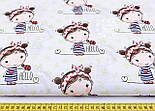 """Лоскут ткани """"Малышка с салатовыми цветочками"""" на белом фоне № 1146а, размер 30*80 см, фото 2"""