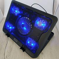 Подставка для ноутбука с вентилятором охлаждением и подсветкой SY-C5 USB на стол черная