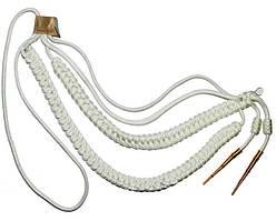 Аксельбант белый с двумя наконечниками