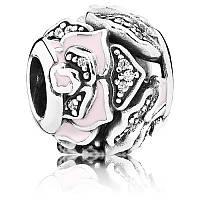 Шарм нежно-розовая роза из серебра 925 пробы пандора (pandora)