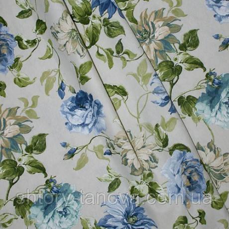 Декор кали цветы синий фон молочный
