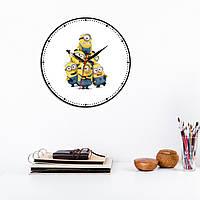 Minions часы Minions декор комнати Настенные часы Миньоны Веселые Миньоны Точечный циферблат Белый фон 30 см
