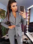 Женский брючный костюм с поясом: жакет и брюки, фото 3