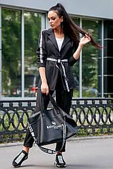 Молодёжный брючный костюм женский чёрный костюмка классический повседневный