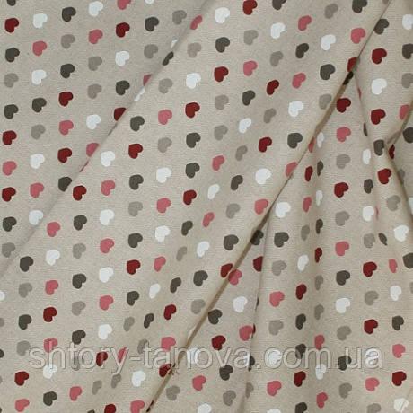 Декор селин цветные сердца, фон натур. лен