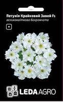 Семена петунии Крайковый Завой F1, 10 сем. (драже), белая крупноцветковая низкорослая бахромчатая