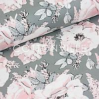 ✁ Відрізи Тканини Троянди на темно-сірому