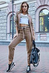 Женский брючный костюм цвет кофе костюмка молодёжный классический повседневный