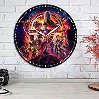 Часы Мстители Часы на стену Круглые печатные часы на стену Часы ХДФ с виниловой наклейкой Настенные часы 30 см