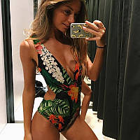 Женский сдельный купальник с тропическим принтом, фото 1