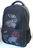 Школьный рюкзак для мальчиков танки чёрный с красным