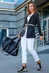 Женский брючный костюм чёрно-белый костюмка молодёжный классический повседневный