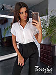 Женский комплект белая рубашка с коротким рукавом и черные брюки, фото 2
