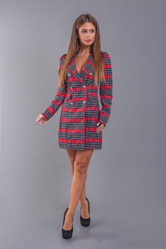 """Короткое стильное платье-пиджак в клетку """"TIARA"""" на пуговицах"""