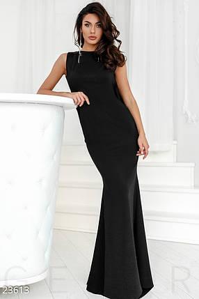 Вечернее платье в пол вырез на спине однотонное черное, фото 2