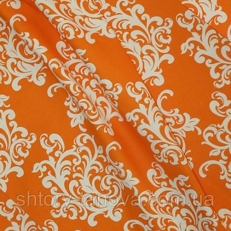 Декоративна тканина для штор льон вензель, оранж