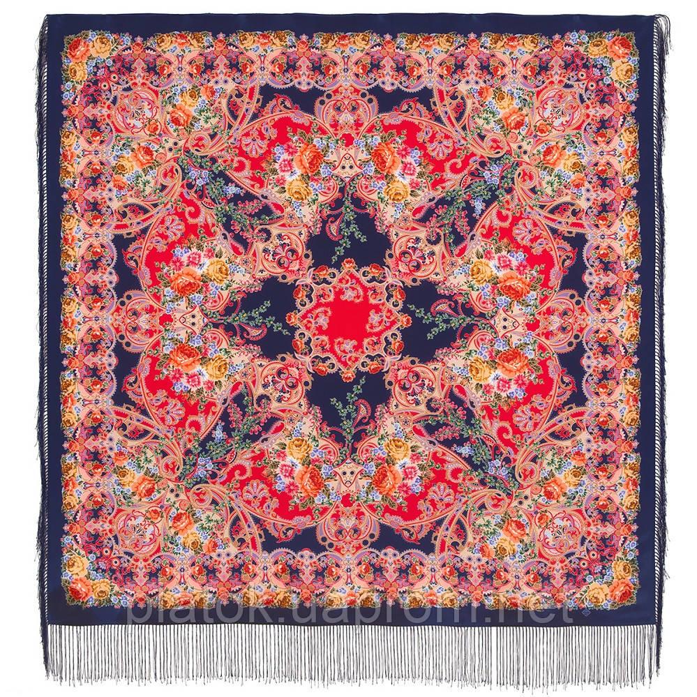 Кружевной 951-14, павлопосадский платок (шаль, крепдешин) шелковый с шелковой бахромой