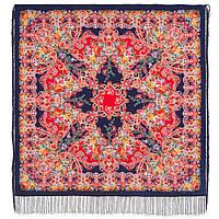 Кружевной 951-14, павлопосадский платок (шаль, крепдешин) шелковый с шелковой бахромой, фото 1