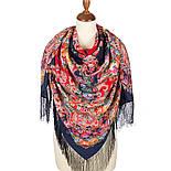 Кружевной 951-14, павлопосадский платок (шаль, крепдешин) шелковый с шелковой бахромой, фото 2