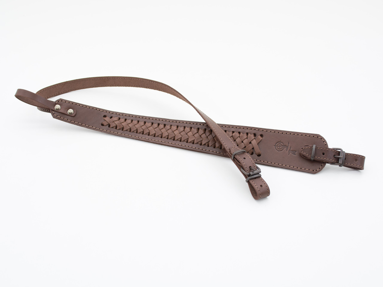 Ремень для ружья трапеция плетеный кожаный 5028
