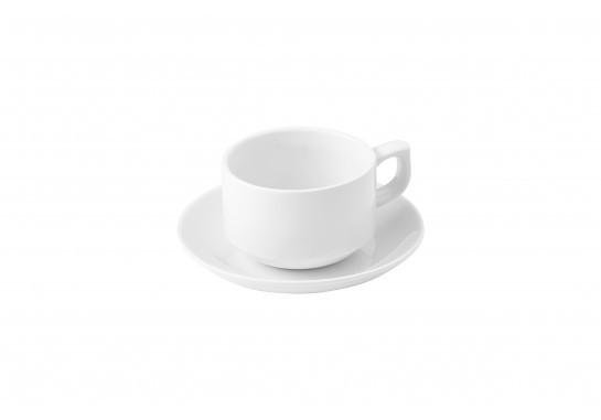 Чашка 1в1 с блюдцем (250мл) Alt Porcelain CaBaRe Белая (F2076+F0998-6)