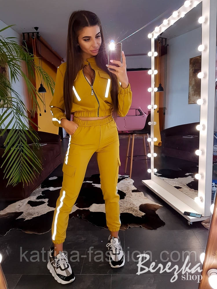 Женский комплект со светоотражающими вставками: брюки карго + бомбер (в расцветках)